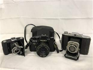 (3)Vtg Cameras, Yashica FX-3, Konica Baby Pearl -