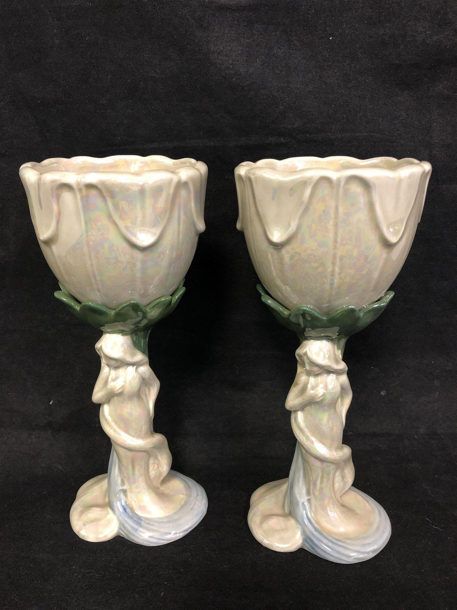 Pr Fitz & Floyd Figural Stemware - Art Nouveau Style,