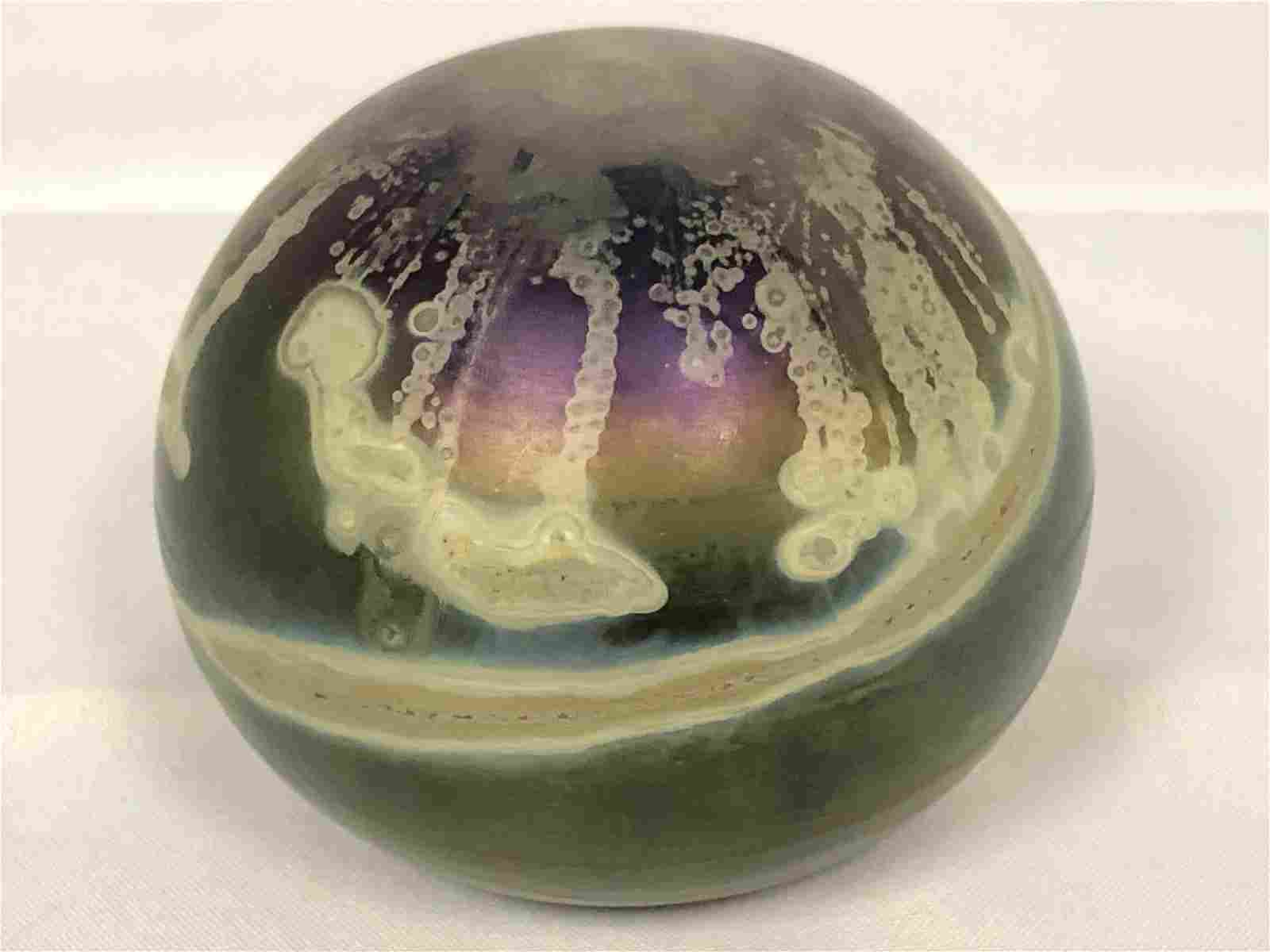 Signed 'RC' Art Glass Paperweight, 3'' x 2'' -