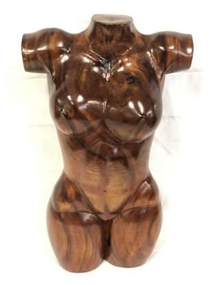 Honduran Mahogany? Carved Female Torso - Arm to Arm