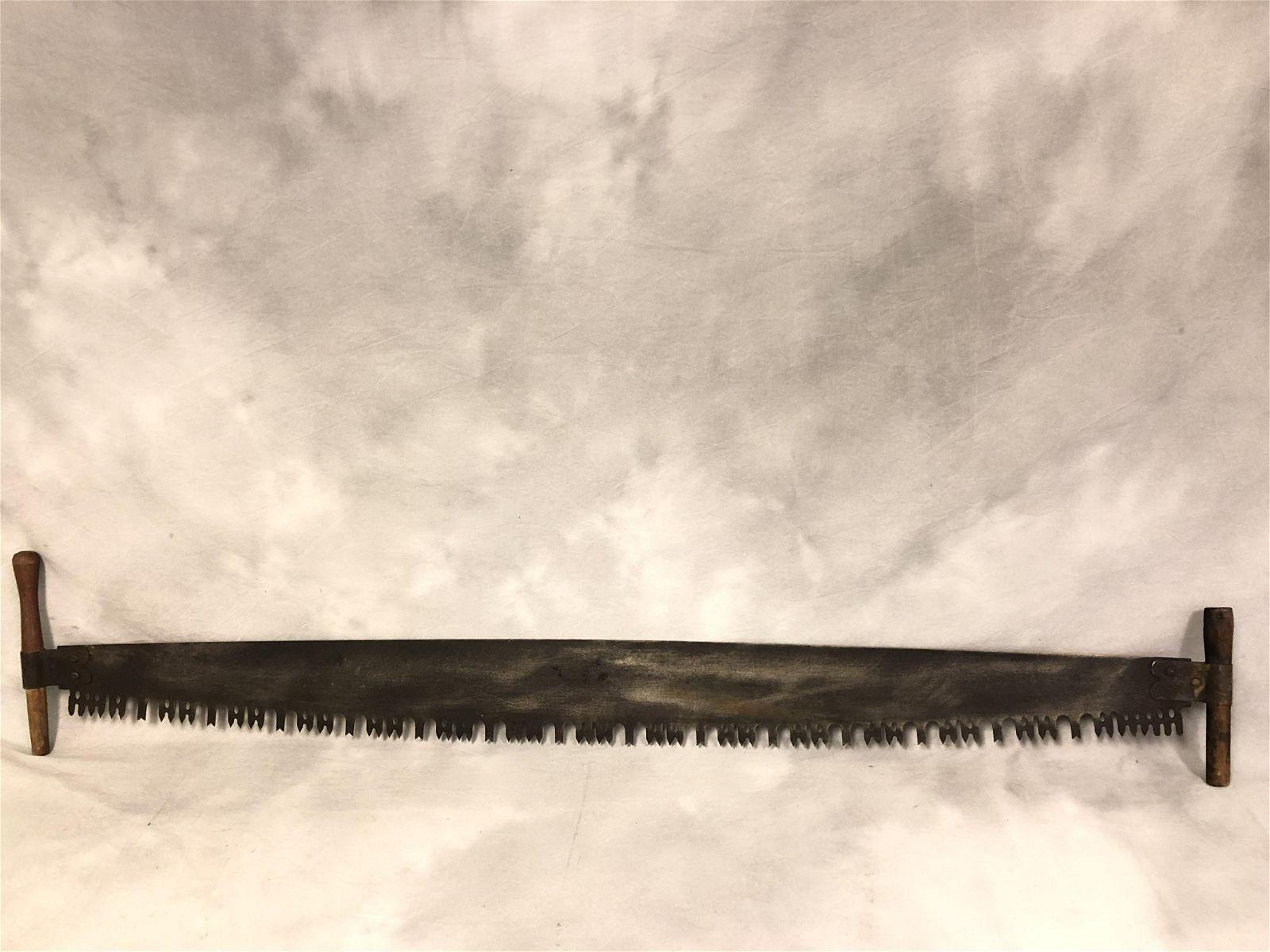 Vtg 2 Man CrossCut Lumber Saw, 64'' Long