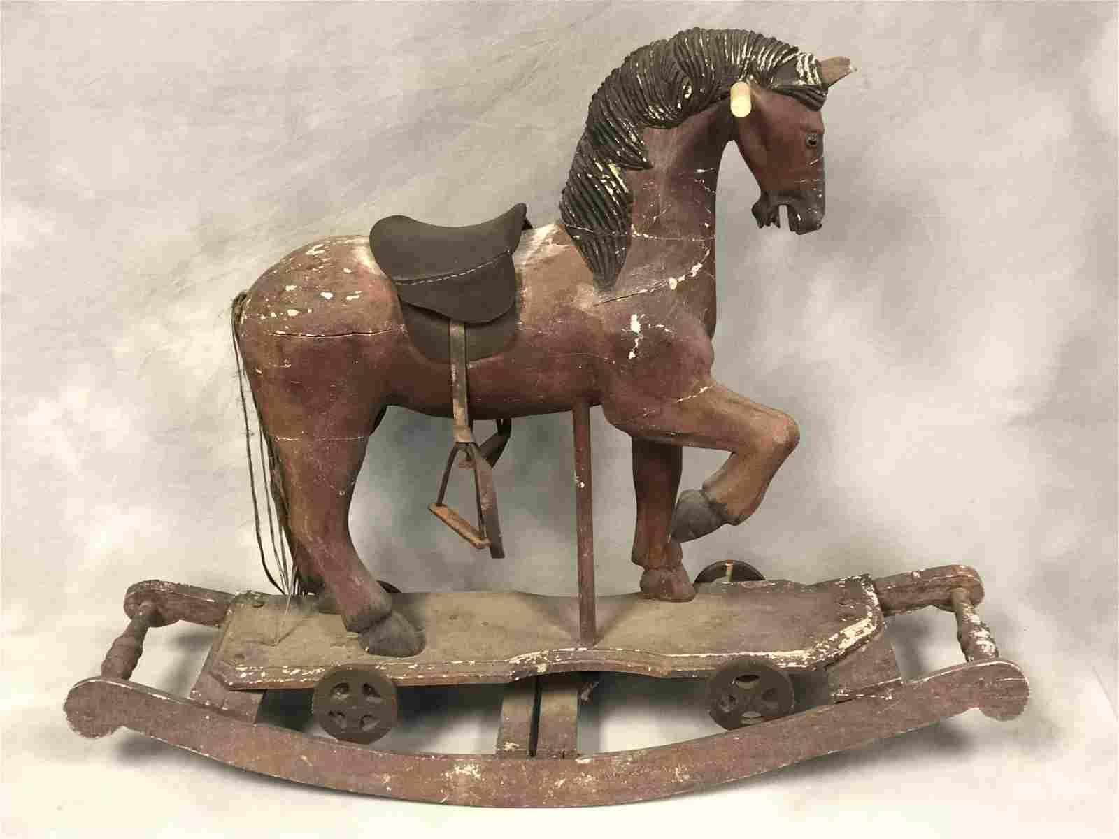 Vtg Wooden Childs/ Doll Rocking Horse - Leather Saddle,