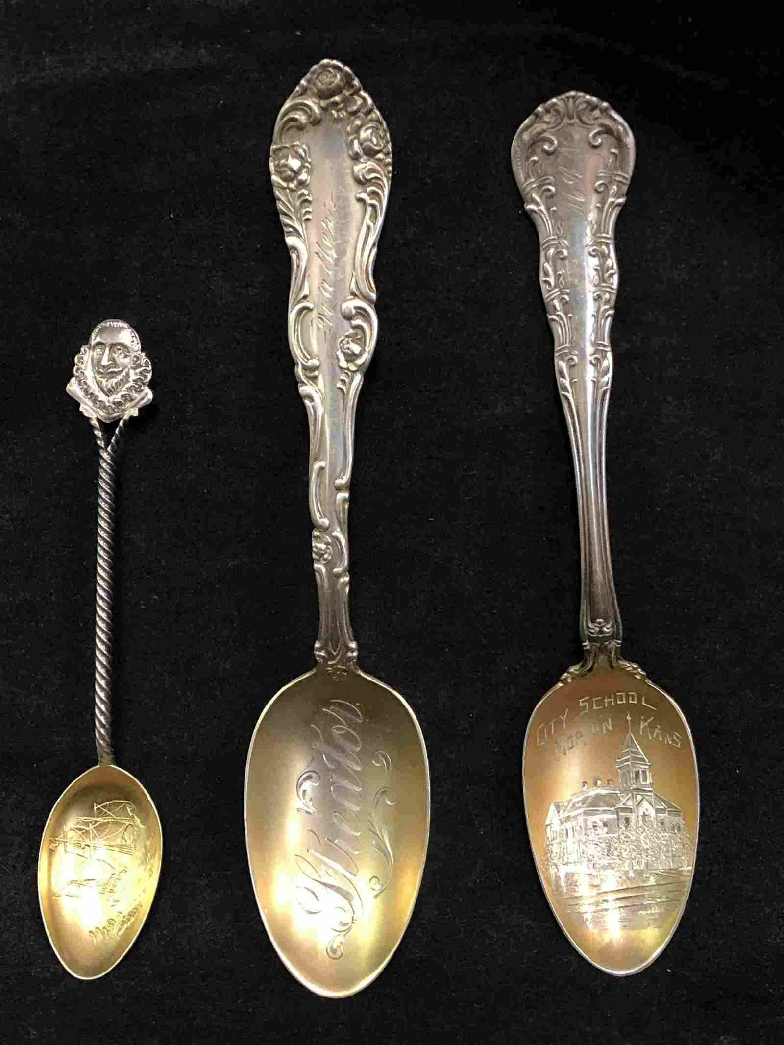 (3)Atq Sterling Gold Wash Bowl Spoons - Total Wgt