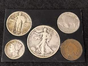 (5)Asst US Coins (1899 - 1943) - 1943 Walking Liberty,