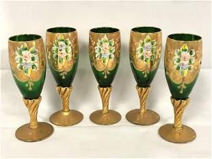 Handpainted Murano Stemware w/ Enamel - Italian Murano