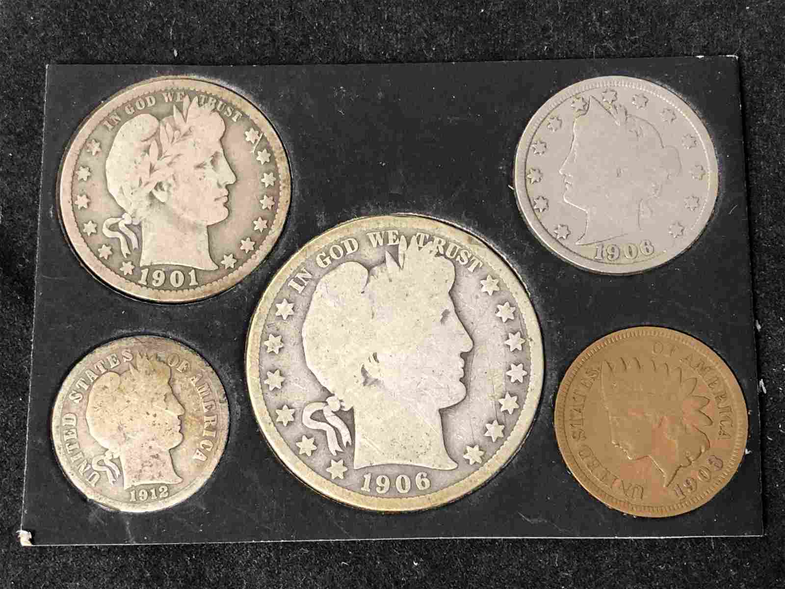(5)Asst US Coins (1903 - 1912) - 1901 Barber Quarter,