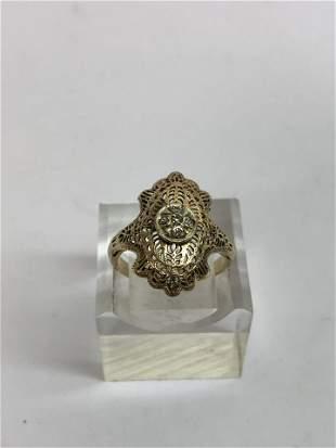 Antique ArtDeco14K Gold Diamond Ring - Sz 7, Total Wgt