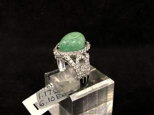 Certified Sterling Beryl Emerald Sapphire Ring - 6.10ct