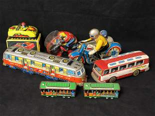 Vintage Tin Toy Cars, Motorcycles - Windup, Friction &