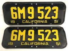 Pr Matching 1951 California License Plates  Golden
