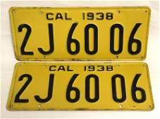 Pr 1938 Matching California License Plates  Black on