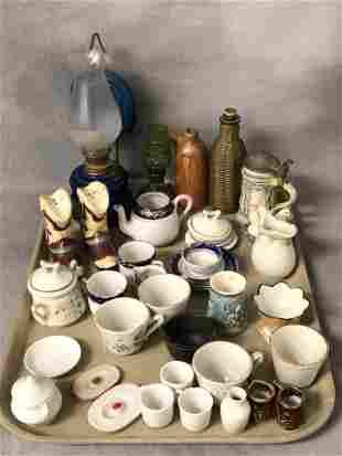 Vintage Miniature Porcelain, Glass Oil Lamps, More -