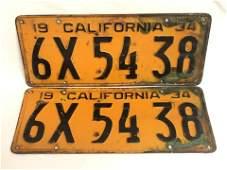 Pr 1934 Matched California License Plates  Black on