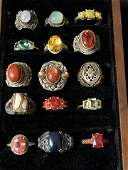 15Asst Sterling Silver Rings Various Stones  Sz 7