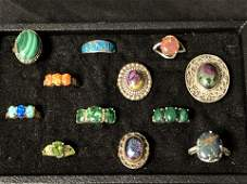 12Sterling Silver Rings Opal Stone More  Asst