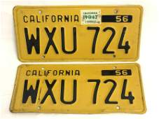 Matched Pair 1956 CA License Plates - Black on Yellow