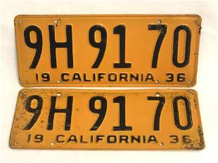 Pr Matched 1936 CA License Plates - Black on Yellow #9H