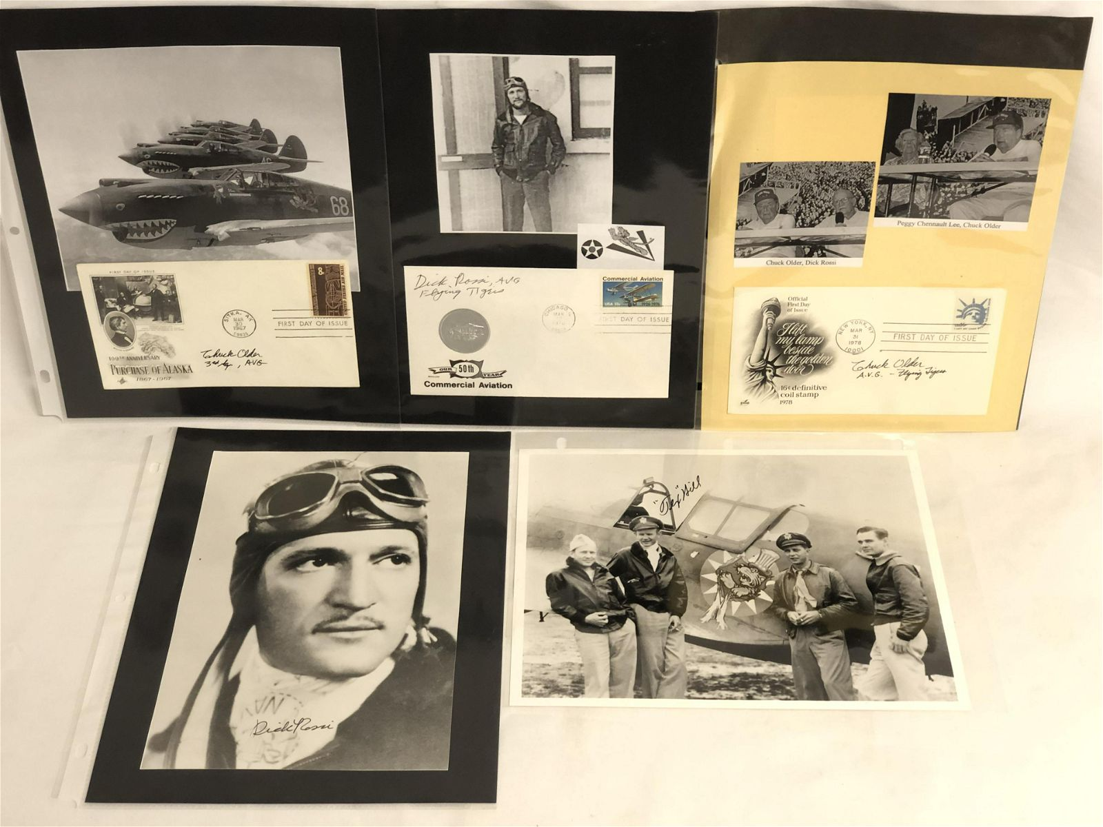 (5)WWII Flying Tigers Autographed Photos - David 'Tex