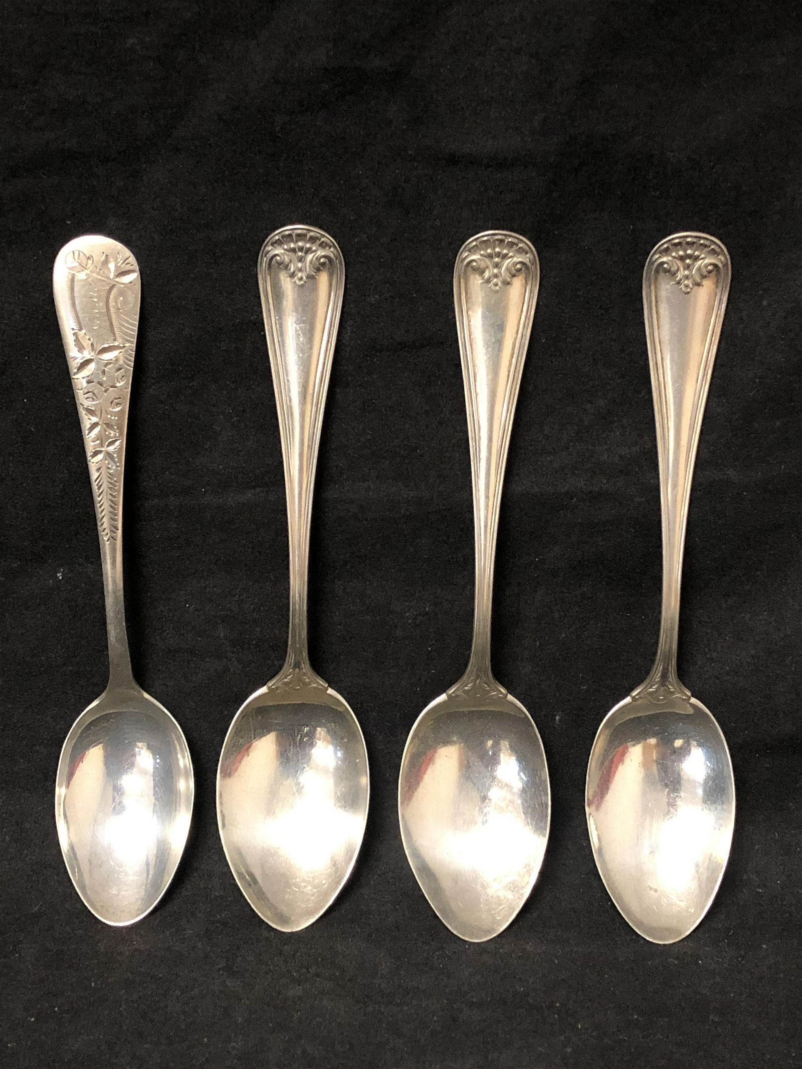 (4)Atq/Vtg Sterling Silver Spoons, 73.2g - Below Scrap