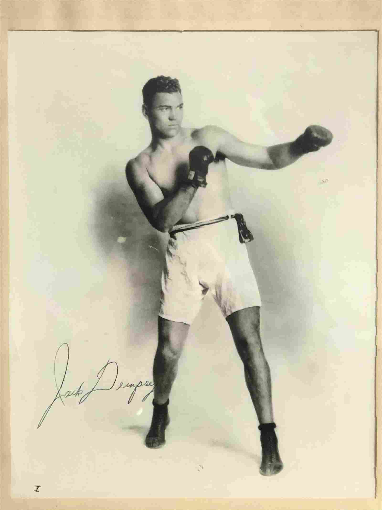 Autographed Jack Dempsey Boxing Photo - Framed 13.25''
