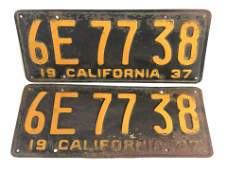 Pr 1937 Matched CA License Plates  Yellow on Black