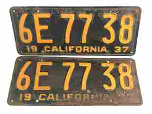 Pr 1937 Matched CA License Plates - Yellow on Black #