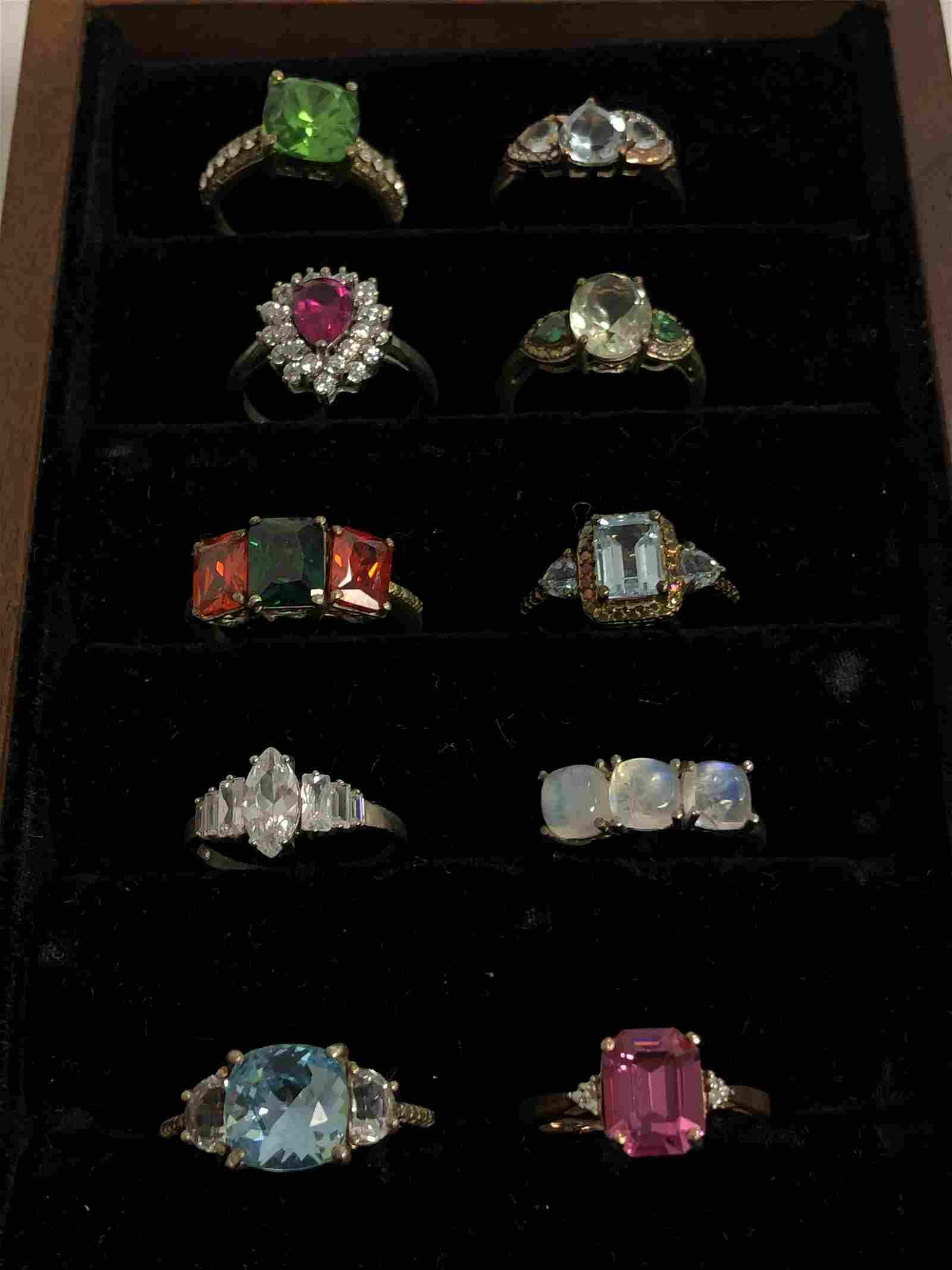 (10)Sterling Silver Asst Rings w/ Various Stones -