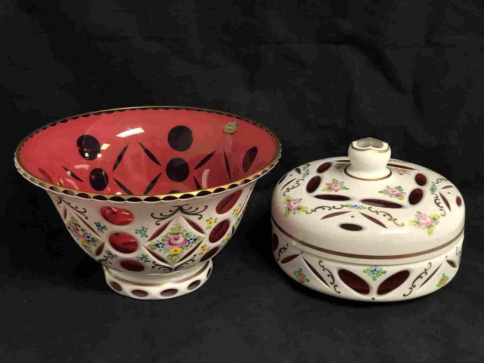 Bohemian Czech Bowl & Lidded Box