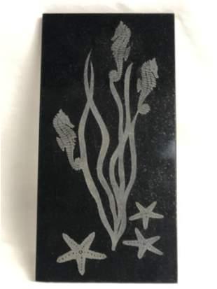 Granite Carved Seahorse Ocean Plaque, 8'' x 16''