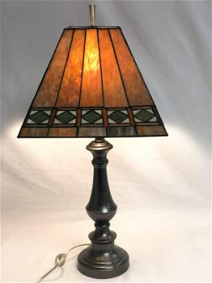 Contemporary Stained Glass Table Lamp - Amber w/ Green