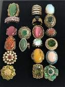 (20)Asst Costume Jewelry Rings, Various Stones - Sz 7 /