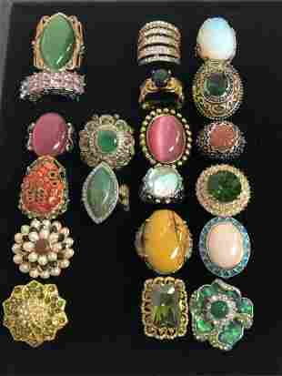 (20)Asst Costume Jewelry Rings, Various Stones - Sz 7 /