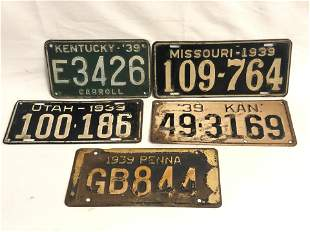 (5)1939 US Automobile License Plates - Kentucky,