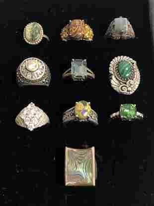 (10)Asst .925 Hallmarked Silver Rings - Sz 7 / 8 ,