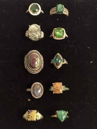 (10)Asst Sterling Silver Rings , Various Stones -