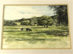 Signed, Victor Mottarella Oil Painting - Oil of Cows in