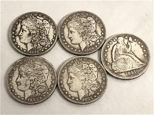 (5)1800s Silver Dollars - (2)1883 CC , 1895-86