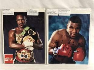 Mike Tyson & E.Holyfield Autographed Photos - Both 8''