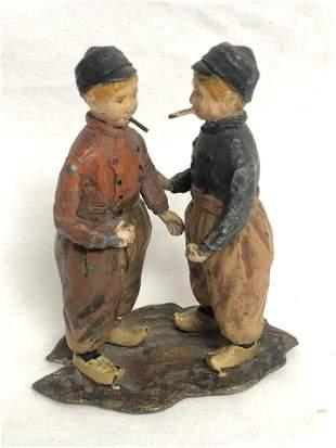 Antique Painted Lead Figure 'Dutch Boys Smoking' - 3''