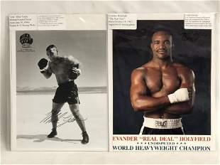 Autographed Mike Tyson & E.Holyfield Photos - Both 8''