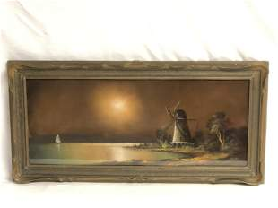 Art Nouveau Pie Crust Framed Watercolor - WC of