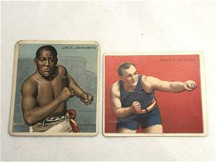 (2)1910 T218 Boxing Cards, Johnson / Jeffries - Mecca
