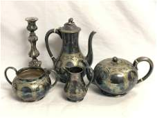 (5)pcs Victorian Silverplated Teapots, Creamer, More