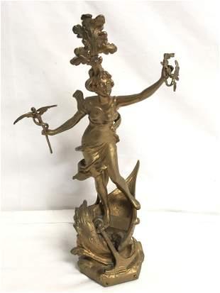 15.25'' Spelter Figure w/ Caduceus on Boat
