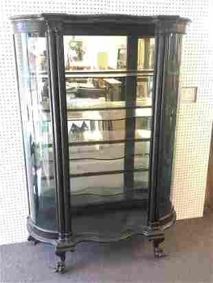 Antique Cabinet, Curved Glass, 44'' x 16'' x 67.5'' -