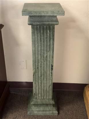 3pc Green Marble Column Pedestal Display - 40'' Tall ,
