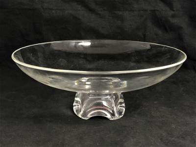 Signed Stueben Crystal Pedestal Bowl, 11'' x 4.25''