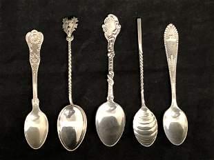 (5)Atq Sterling Salt & Master Salt Spoons - (4) Gorham