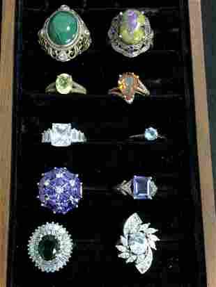 (10)Asst Sterling Rings w/ Various Stones - Sz 7 / 8 ,