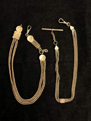 (2)Victorian Pocket Watch Fobs, 12'' Length